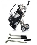 3 Golf Gear Shaped Pens With PU Golf Trolley Design Pen Holde-ADFD8141