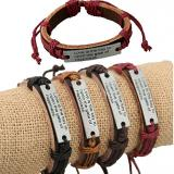 Bible Cross Christ Adjustable Leather Wristband-ADDN8026