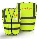 Zipper Front Safety Vest With Reflective Strips-ADQC6010