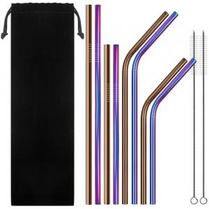 Set of 8 Stainless Steel Straws