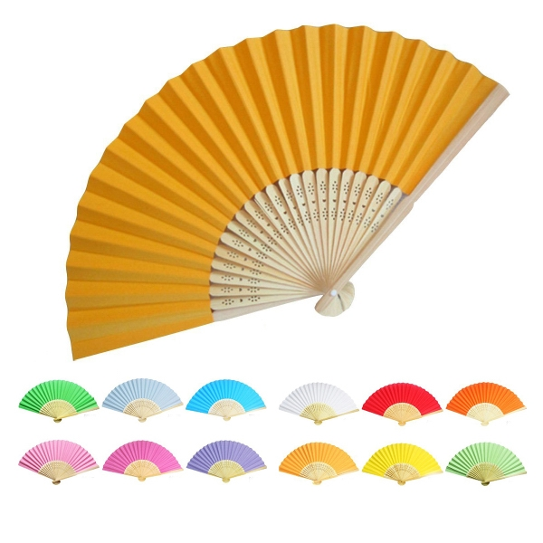 Handheld Folding Fan with Bamboo Frame
