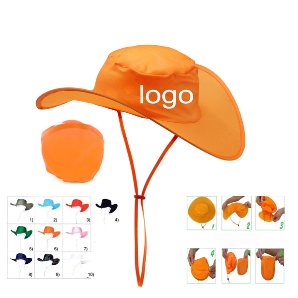 Polyester Foldable Cowboy Hat With Pouch